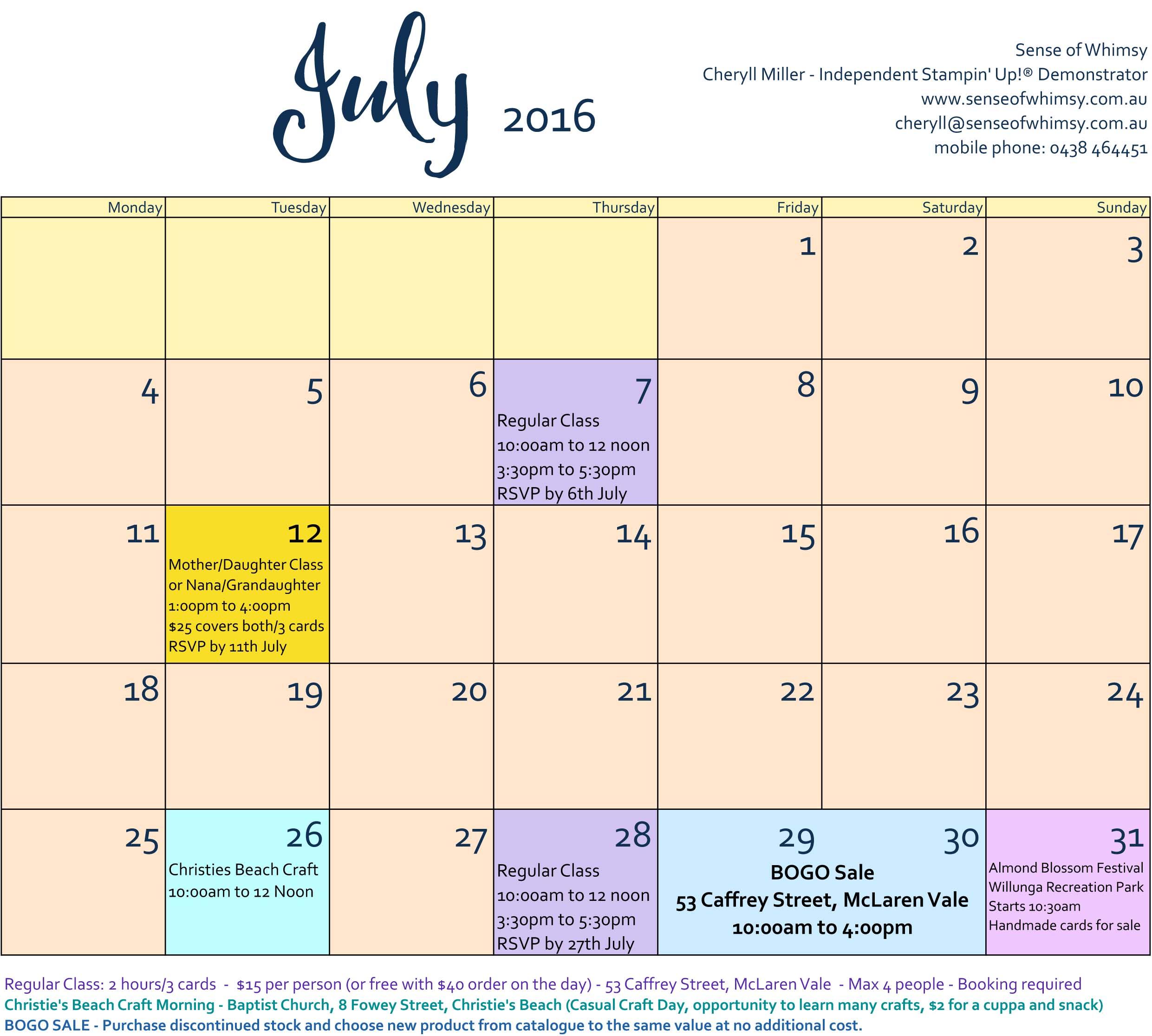 Class Schedule July 2016