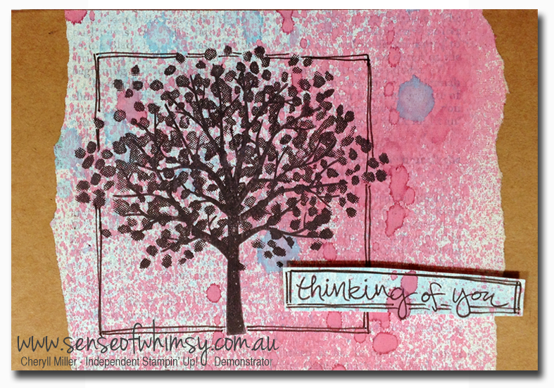 Gesso & Spritzer background using Cherry Cobbler and Tempting Turquoise Ink Refills