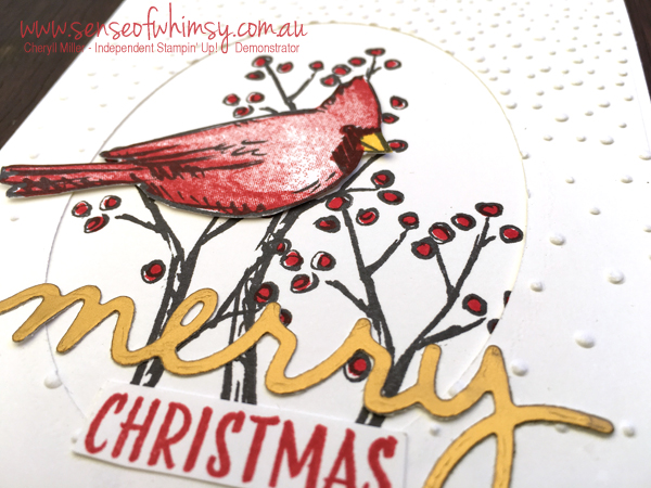 Close up of Joyful and Merry card