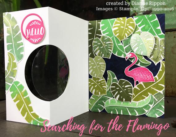 Fully Open Flamingo Card