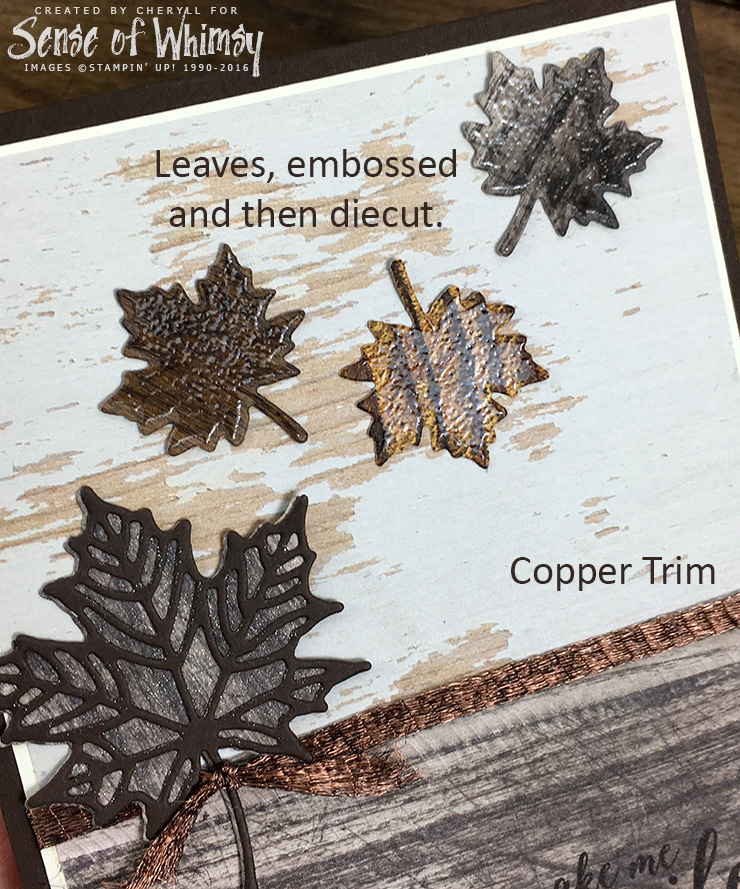 Embossed and die cut leaves
