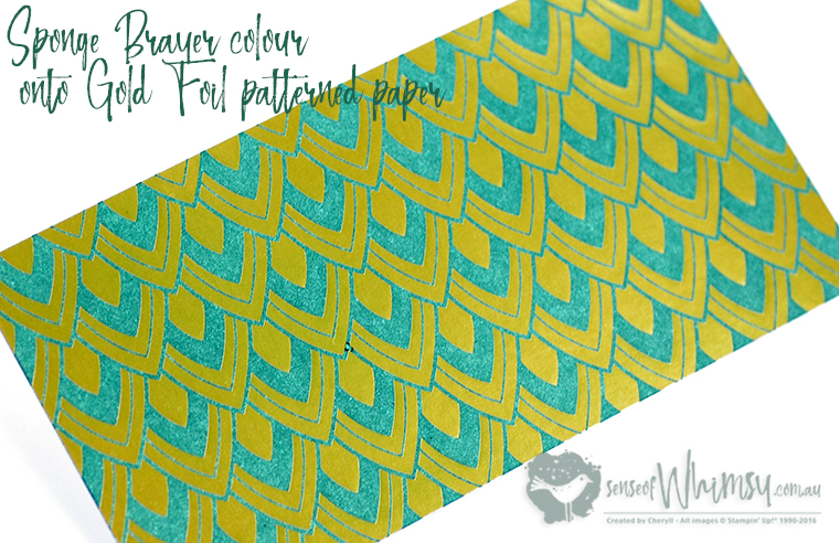 Sponge Brayer Colour onto Foil Patterned Paper