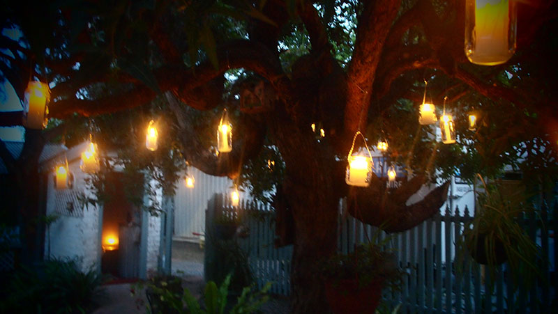 Candles and jars in trees