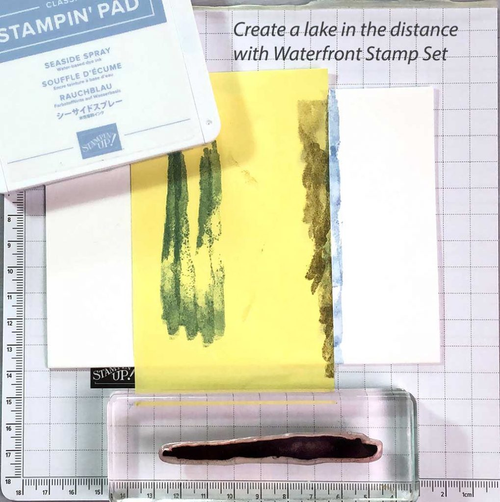 Create a lake with Seaside Spray ink and Waterfront stamp set.