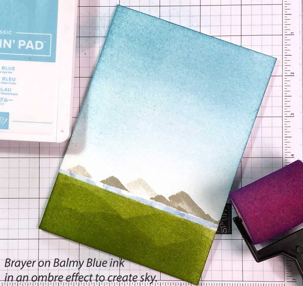 Creating Sky with Brayer and Balmy Blue ink