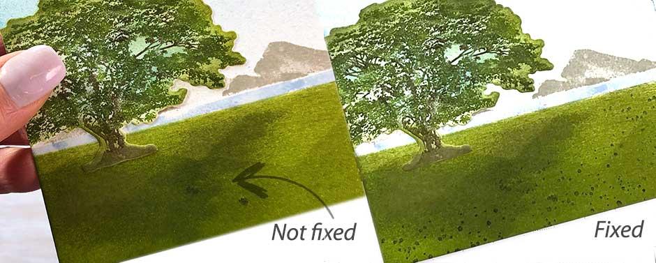 Fixing blips in a landscape card