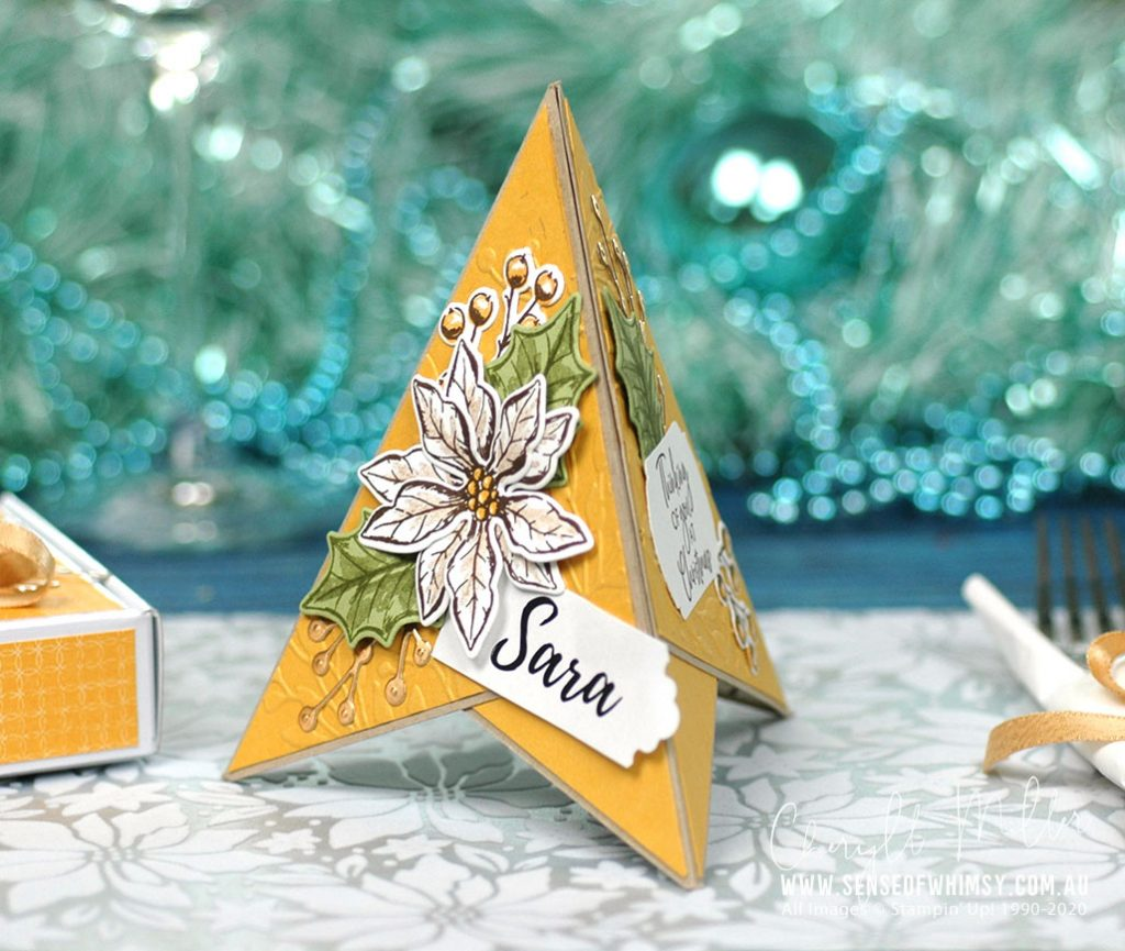 Poinsettia Petals Pyramid Card